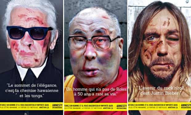 Karl Lagerfeld, the Dalai Lama and Iggy Pop, featuring in Amnesty International's Stop Torture campaign