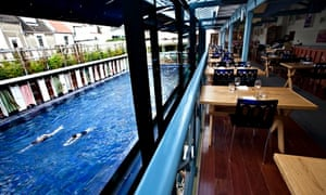The restaurant and pool at Bristol Lido