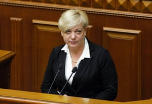 Newly appointed head of the central bank Valeria Hontareva attends a session of parliament in Kiev, June 19, 2014. The Ukrainian parliament on Thursday overwhelmingly approved investment banker Valeria Hontareva as the new head of the central bank, as nominated by President Petro Poroshenko.