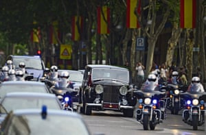 The Spanish Royal Family ride in a Rolls Royce on the way from the Zarzuela Palace to the Congress of Deputies for a swearing in ceremony before both houses of parliament.