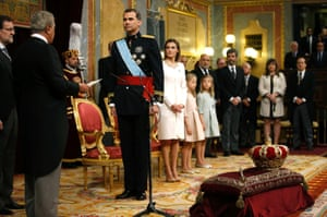 Spain's new King Felipe VI, his wife Queen Letizia, Princess Sofia and Princess Leonor attend the swearing-in ceremony at the Congress of Deputies in Madrid.