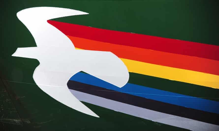 A close-up of the logo on the new Rainbow Warrior built in 2011, in Vancouver on 2 November 2013.