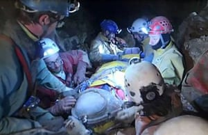 The going has been slow because rescuers have had to haul Westhauser by hand through the narrow winding passages.