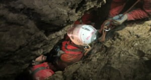 Rescuers move Westhauser through a tight passage