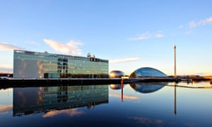 Glasgow Science Centre and Tower with BBC building in foreground, Glasgow, Scotland, UK.