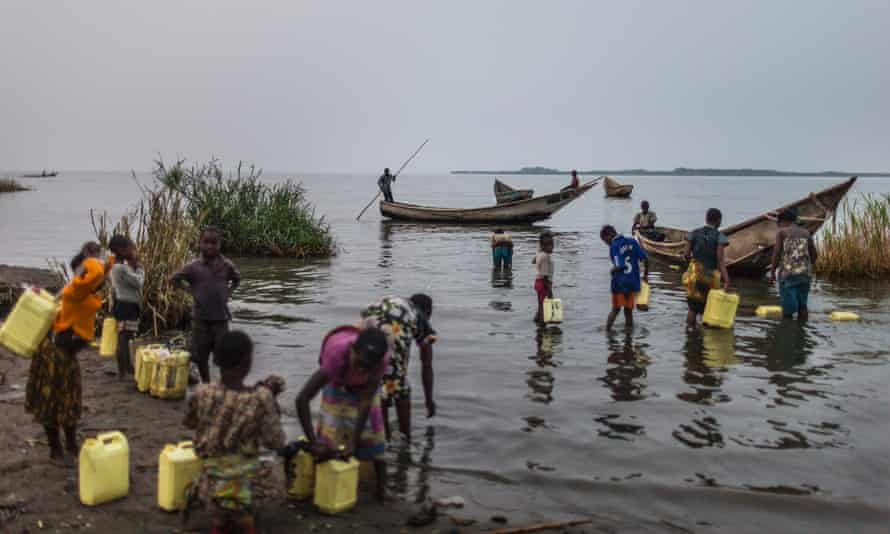 """The Vitshumbi fishing village on the Southern shores of Lake Edward is in the """"Block V"""" area of Virunga National Park, DRC. UK company Soco International PLC is planning to explore for oil in DRC's Virunga National Park, a protected World Heritage Site and most biodiverse park in Africa."""