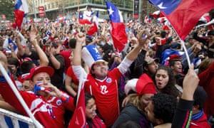 Fans celebrate in Santiago.
