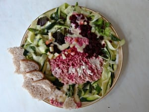 Edgar Degas's 'Danseuse en Robe Rose' recreated in salad by Alanna Orpen.
