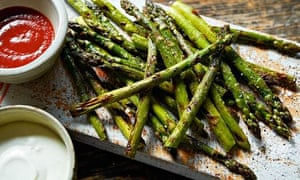 Mary-Ellen McTague: asparagus with blue cheese dressing and hot sauce