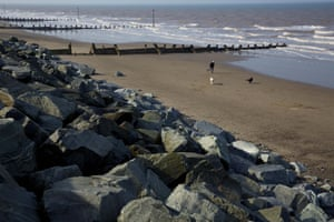 Withernsea Beach Which Has Been Protected By Giant Granite Boulders Imported From Norway To Reinforce The Sea Defences In The Town.