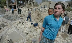 Damage in the residential Baghdad neighbourhood of  al-Qadissiya following a US bombing raid in 2003.