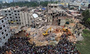 Aerial view of the Rana Plaza building, which collapsed in April 2013