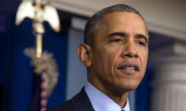 Obama in the Brady Press Briefing Room.