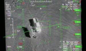 A pilot's heads up display from the view of a camera on an MQ-9 Reaper drone during a training mission.