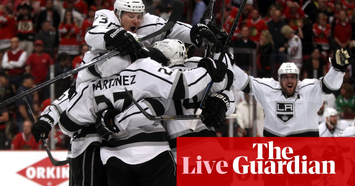 f6ce5ab93b6 NHL Playoffs: Los Angeles Kings 5-4 Chicago Blackhawks – as it happened! Kings  will face the New York Rangers for the Stanley Cup