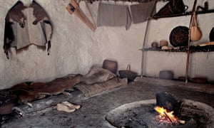 Interior of one of the re-created houses at Stonehenge