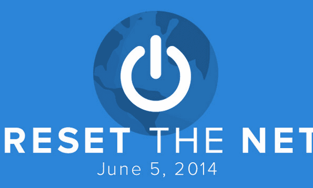 The Reset the Net homepage.