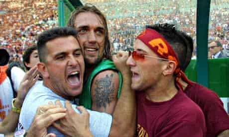 Gabriel Batistuta celebrates winning the scudetto with Roma fans