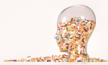 pills in head-shaped jar