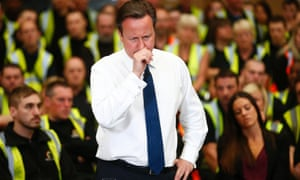 David Cameron during a question and answer session at an electrical goods warehouse in Newark today.