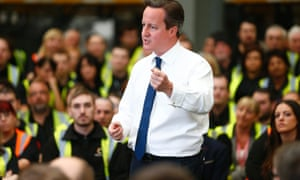 David Cameron during his Q&A session at the Knowhow electrical goods warehouse in Newark.