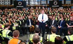 David Cameron holding a Q&A with workers at a warehouse during his fourth campaign visit to Newark.