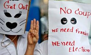 Anti-coup protesters in Bangkok