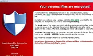 Cryptolocker will encrypt files with a public key that is widely seen as unbreakable.