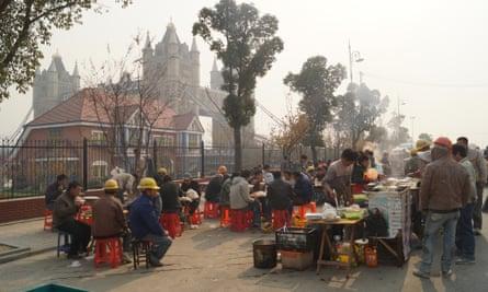 Migrant labourers beneath Suzhou's Tower Bridge