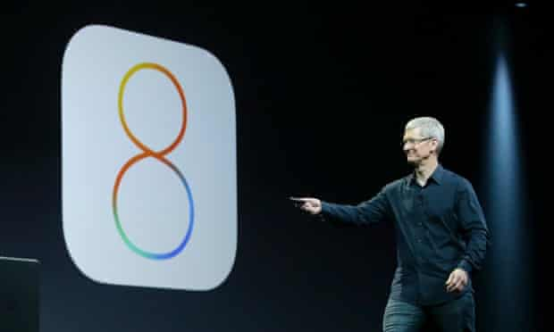 Apple CEO Tim Cook speaks about iOS 8 at the Apple Worldwide Developers Conference in San Francisco, Monday, June 2, 2014. (AP Photo/Jeff Chiu)