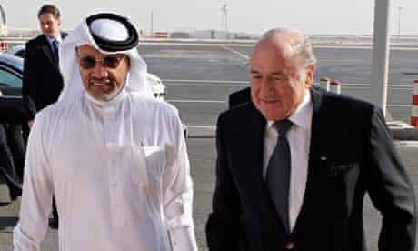 Mohamed bin Hammam meeting Fifa's president, Sepp Blatter, at Doha in 2010