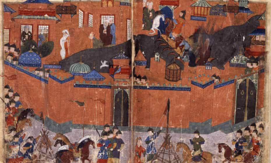 Mongols under the leadership of Hulagu Khan storming and capturing Baghdad in 1258