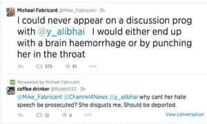 Michael Fabricant's tweet about Yasmin Alibhai-Brown