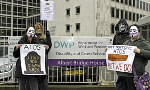 People protest against Atos conducting fitness assessments to claim employment support allowance