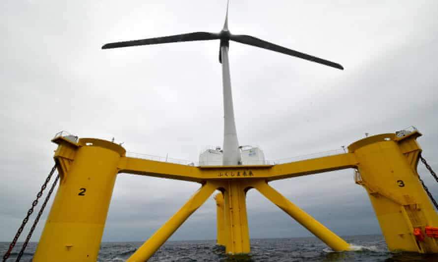 Fukushima Mirai wind turbine floats 20 kilometers off the coast of Fukushima Prefecture on October 4, 2013 in Naraha, Fukushima, Japan. The wind turbine on a floating rig foundation, measures 80 meters across and rises 106 meters from the sea surface to the tip of a blade at its highest position. Mirai means future in Japanese.