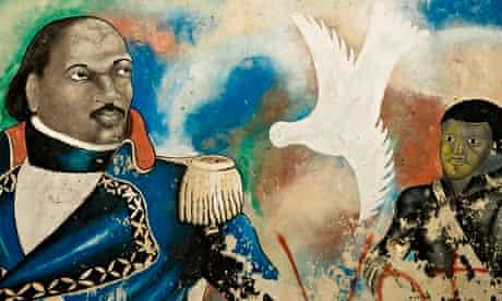 A Port au Prince mural showing the Haitian revolutionary Toussaint L'Ouverture (1743-1803), a pionee