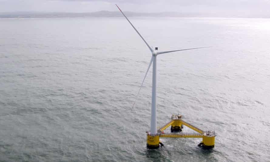"""A picture taken on March 5, 2014 off the coast of Agucadoura, near Porto, shows a """"Windfloat,"""" one of the three fonctionning floating wind turbine in the world."""