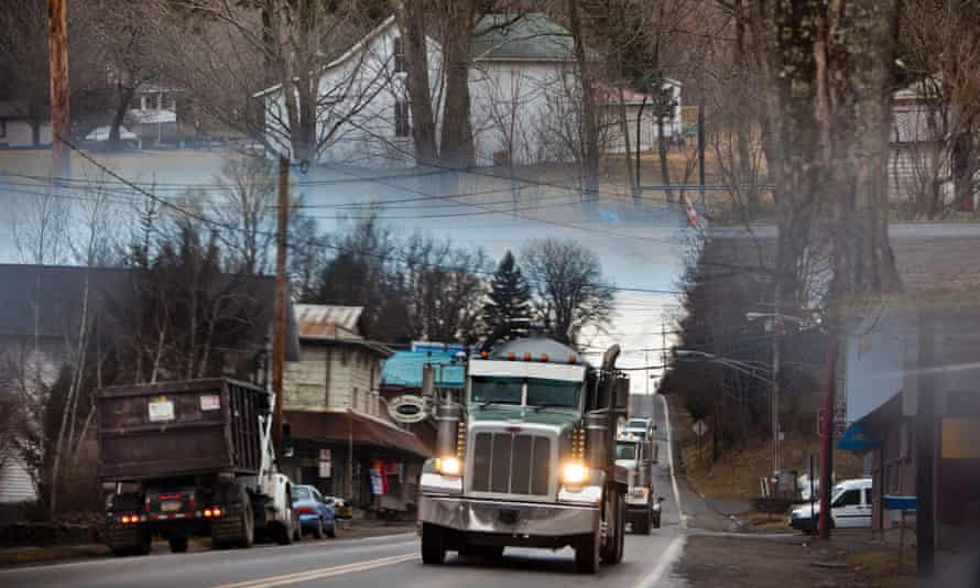 Support trucks for hydraulic fracturing in Pennsylvania. A new study suggests many abandoned wells are leaking methane