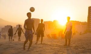 Beach football at Ipanema beach in Rio de Janeiro, Brazil, on 16 June 2014