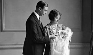 The Duke and Duchess of York at the christening of the Princess Elizabeth in 1926