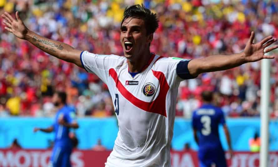 Costa Rica's forward Bryan Ruiz celebrates after scoring the opener.