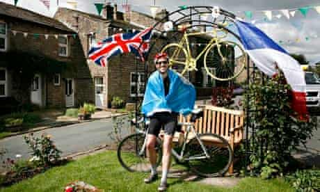 Tim Lewis takes a breather from his Tour de France stage one ride in Gunnerside, Swaledale. 'All of