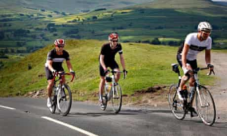 Tim Lewis with Dan Atkinson and Pete Flynn climb Buttertubs on the route of stage 1 of this year's T
