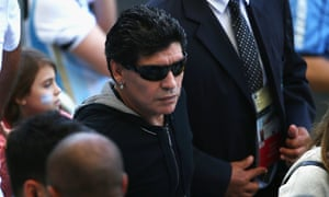 Maradona watches the match at at Estadio Mineirao.  Can Lionel Messi reach Diego's heights from 1990?