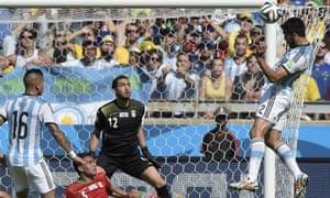 Garay should score but heads over. Argentina are misfiring at Estadio Mineirao.