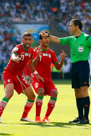...but Serbian referee Milorad Mazic is not impressed and doesn't give the penalty.