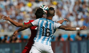 Rojo battles for the ball.  He's been Argentina's  best player so far.