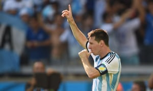 Lionel Messi celebrates after scoring the winning goal.