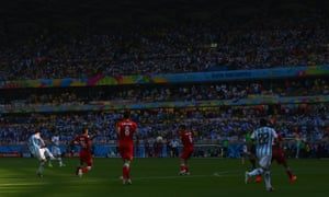 The ball falls to Messi who curls a stunning shot into the top-left corner of the net.