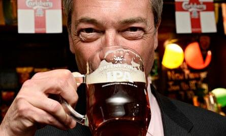 Nigel Farage, leader of Ukip, drinking a celebratory pint in May 2014.